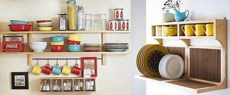 9. Prateleira para cozinha como porta-louças. Foto de Pinterest