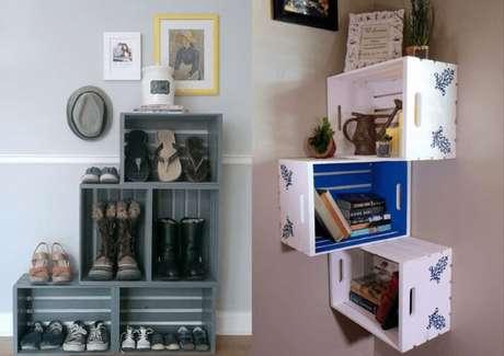 6. Prateleira para quarto com caixotes. Foto de Pinterest