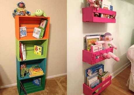 5. Prateleira para quarto infantil com caixotes. Foto de Pinterest