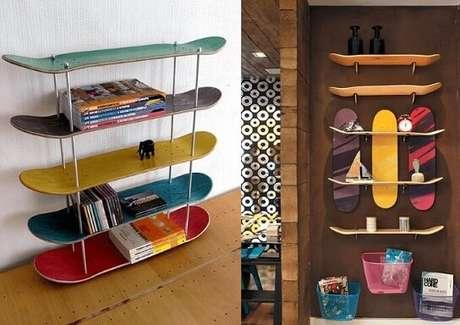 4. As prateleira de shape podem ser usadas no chão e na parede. Foto de Pinterest
