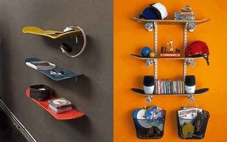 3. Prateleira para quarto com shape de skate. Foto de Pinterest
