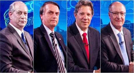 Ciro, Bolsonaro, Haddad e Alckmin, os quatro melhores colocados nas pesquisas de intenção e votos