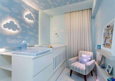 40- O papel de parede para quarto de bebê masculino foi aplicado em uma parede e no teto. Projeto: Milla Holtz