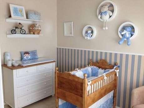 1- Quarto de bebê masculino deve ser bonito e funcional. Projeto: Julia Lopes Pegoraro