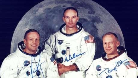 Neil Armstrong, Michael Collins e Buzz Aldrin, os tripulantes da histórica missão Apolo 11