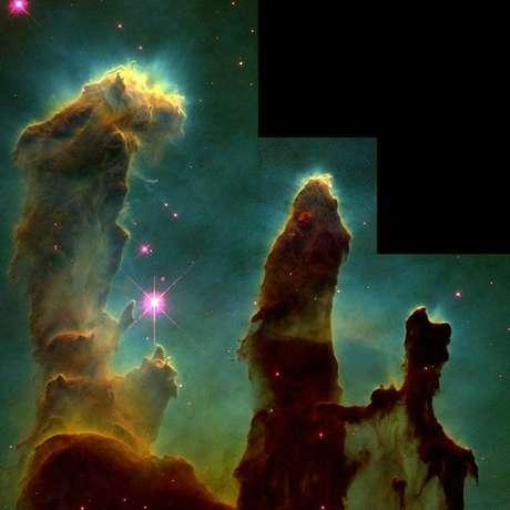 Os 'Pilares da Criação': a imagem foi feita pelo Hubble em 1995 e mostra colunas de gás e poeira na Nebulosa da Águia, uma cadeia de estrelas a uns 7 mil anos-luz da Terra