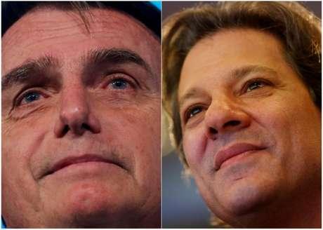 Montagem com fotos dos candidatos à Presidência do PSL, Jair Bolsonaro, e do PT, Fernando Haddad REUTERS/Adriano Machado/Fotos de arquivo