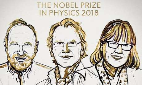 Arthur Ashkin, Gérard Mourou e Donna Strickland, os vencedores do Nobel de Física em 2018