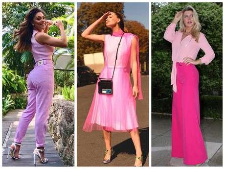 Famosas entram na tendência do look todo rosa (Fotos: Instagram/Reprodução)
