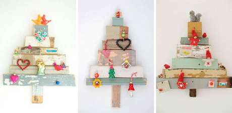5. Árvores artesanais de parede feitas com madeira reutilizada