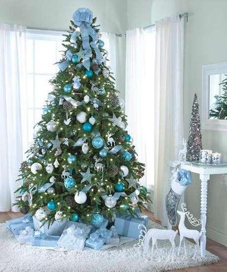 65. Árvore de natal com decoração azul, cheia de bolinhas, renas, estrelas e fitas