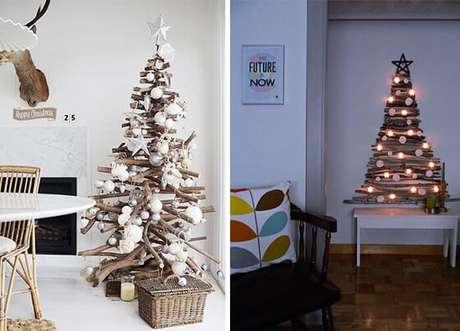 10. Dá para fazer modelos bem diferentes e igualmente lindos de árvore de natal artesanal com galhos de árvore. Foto de Limão na Água