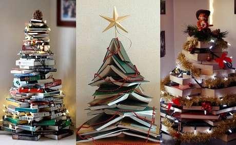 14. A árvore de natal de livros é perfeita para amantes da literatura. Foto de Outro Astral