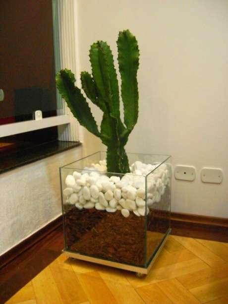 18. As pedras e cascalhos fazem a diferença no cachepot de vidro. Foto de Casa Pro