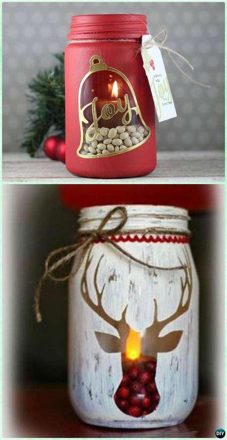 30- Com tinta e um vidro você pode criar um belo enfeite natalino