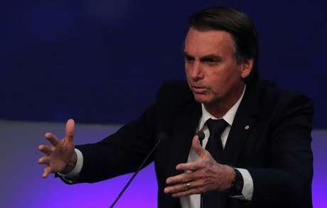 Candidato do PSL à Presidência, Jair Bolsonaro, durante debate televisionado em São Paulo 09/08/2018 REUTERS/Paulo Whitaker
