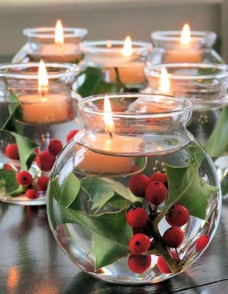 39. Lindos modelos de enfeites de natal feitos com potes de vidro e velas – Foto: Cliparts Zone