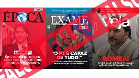 Mais montagens: na quarta, 26, o boato mais difundido é contra a imprensa, com capas falsas de revistas brasileiras