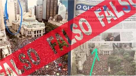 A capa do jornal O Globo é verdadeira; falsa é a versão de que a foto do jornal estava incorreta - quem circulou o lugar onde deveria haver um prédio estava incorreto em sua versão