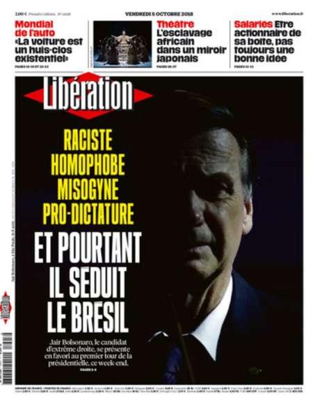 Capa do 'Libération' desta sexta-feira traz reportagem sobre o candidato Jair Bolsonaro