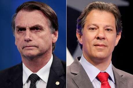 Montagem de fotos do candidato do PSL à Presidência, Jair Bolsonaro, e do candidato do PT, Fernando Haddad durante debate em São Paulo 26/09/2018  REUTERS/Paulo Whitaker/Nacho Doce