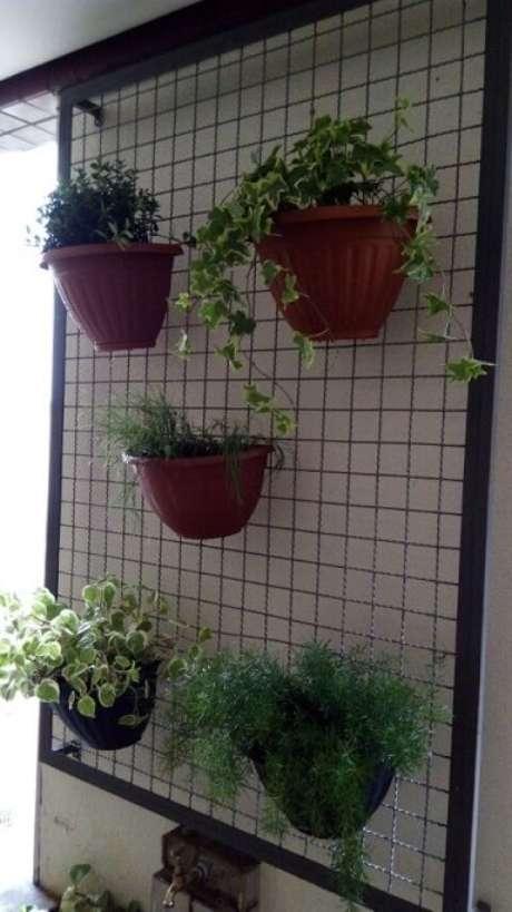 60. Treliça de ferro com plantas em vasos suspensos. Projeto de Casa Green Paisagismo