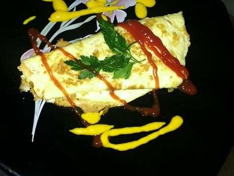 Omelete recheado de calabresa