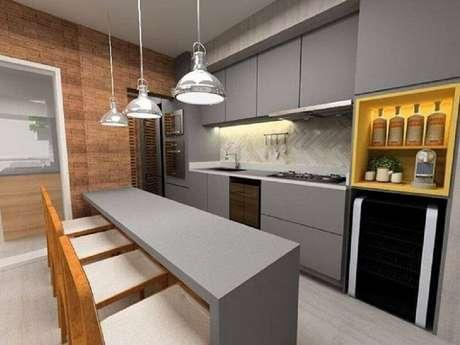 44. O armário de cozinha planejado é excelente para otimizar espaço – Foto: SP Estudio Arquitetura e Interiores