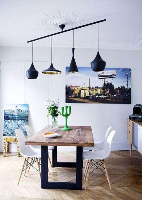22. Misture elementos rústicos para a decoração de sala de jantar moderna – Foto: Traits D'co