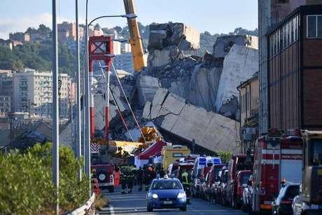 Destroços da Ponte Morandi, em Gênova