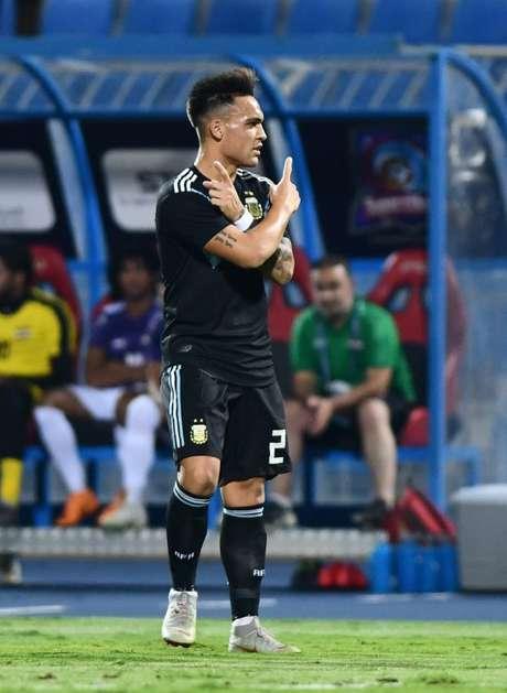 Lautaro Martínez comemora gol da Argentina   11/10/2018     REUTERS/Waleed Ali