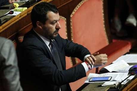 Matteo Salvini durante audiência no Parlamento da Itália