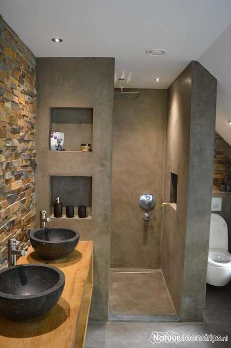 36. Os detalhes rústicos também devem ser usados para a decoração de banheiro planejado moderno – Foto: GooDSGN