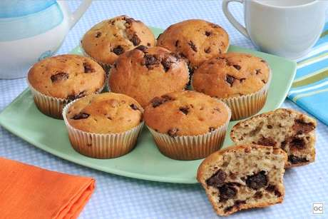 Muffin de banana e chocolate