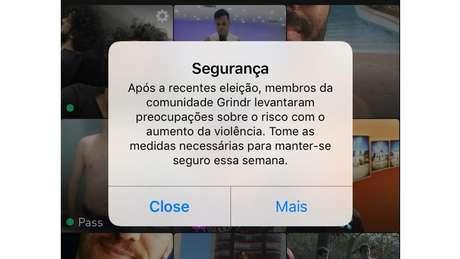 Aplicativo de encontros Grindr passou a exibir a seus usuários brasileiros, pela primeira vez, um aviso sobre segurança, que normalmente é dado em países onde a homossexualidade é ilegal