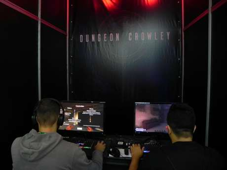 "Estande da Animus, onde as pessoas puderam testar o game de RPG ""Dungeon Crowley"" na BGS"