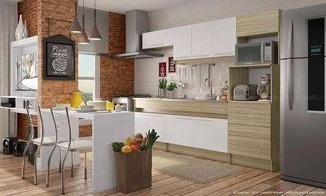 34- A cozinha americana pequena tem estilo moderno com linhas retas. Fonte: Lojas KD Móveis