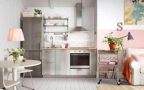 36- A cozinha americana pequena tem armários em aço inox. Fonte: Carro de Mola
