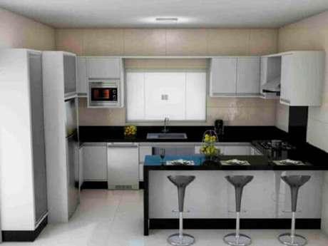 62- A cozinha americana pequena em formato de U facilita o trabalho doméstico. Fonte: Idea Brasil