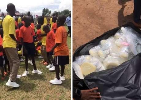 Kim Kardashian compartilha momentos da doação de tênis na África.