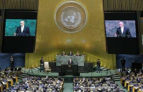Presidente Michel Temer discursa na Assembleia Geral da ONU, em setembro de 2017 19/09/2017 REUTERS/Lucas Jackson
