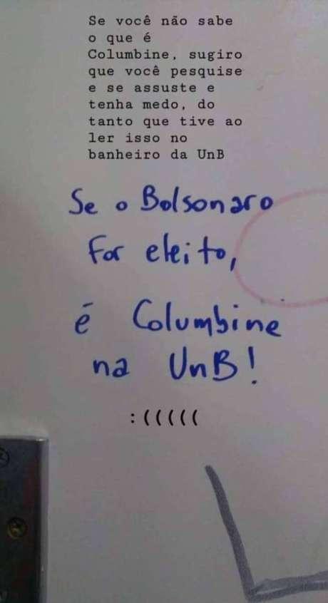 Foto que circula nas redes sociais tirada de um banheiro na Universidade de Brasília