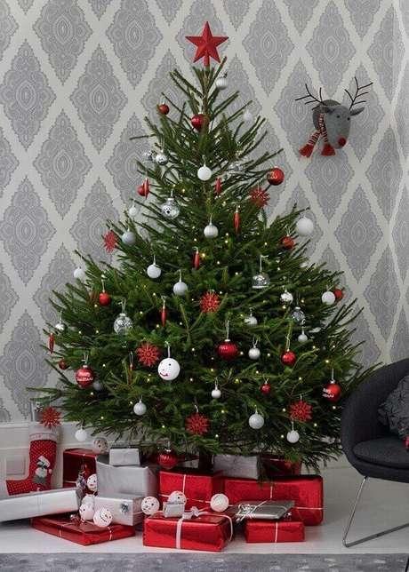 8- Como decorar um pinheiro natural para o natal depende de regas, coloque um prato de coleta. Fonte: idealhome