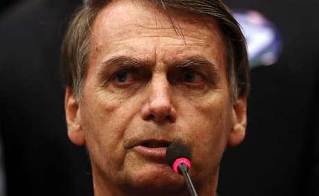 Candidato do PSL à Presidência, Jair Bolsonaro, durante coletiva de imprensa no Rio de Janeiro 11/10/2018 REUTERS/Ricardo Moraes