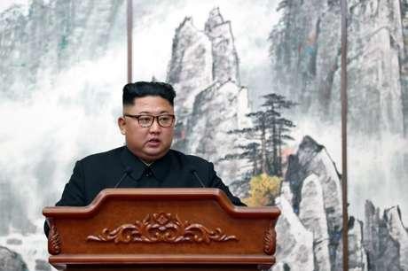 Líder da Coreia do Norte, Kim Jong Un, durante entrevista coletiva em Pyongyang 19/08/2018  Pyeongyang Press Corps/Pool via Reuters