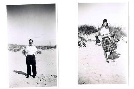 Raphael e Fanny, avós de Bodin Saphir, na praia