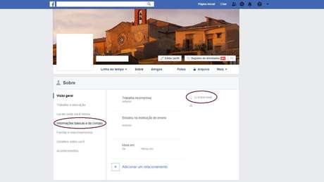 Captura de tela de configurações do Facebook