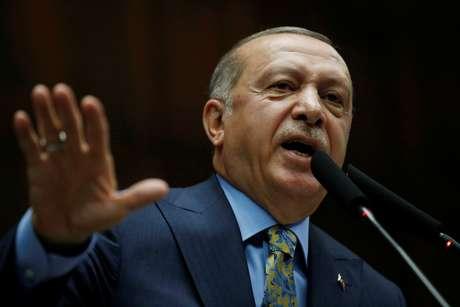 Presidente turco, Tayyip Erdogan, durante discurso no Parlamento 23/10/2018 REUTERS/Tumay Berkin