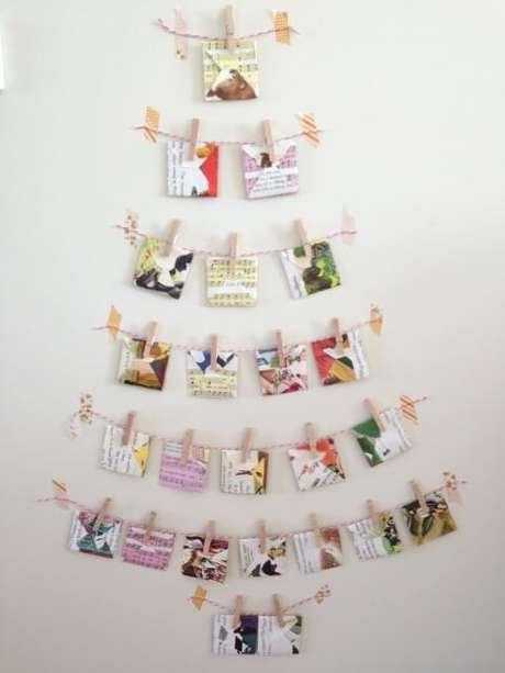65. Árvore de natal artesanal formada por mini varais. Foto de Pinterest