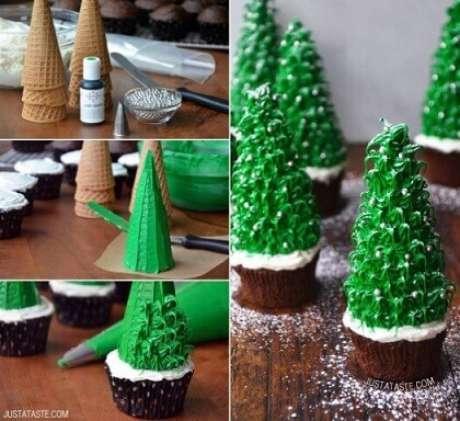 25. Cupcake com árvore de natal feita com uma estrutura de cone de sorvete. Foto de Pinterest
